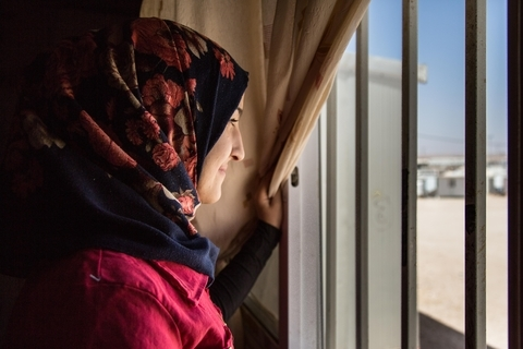 Saba lives with her mother and siblings in Zaatari. She goes to school and refuses early marriage. She encourages all her friends to study. © UNFPA Jordan/Sima Diab